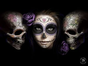 Anne Stokes - Day of The dead skulls and roses large 3d picture